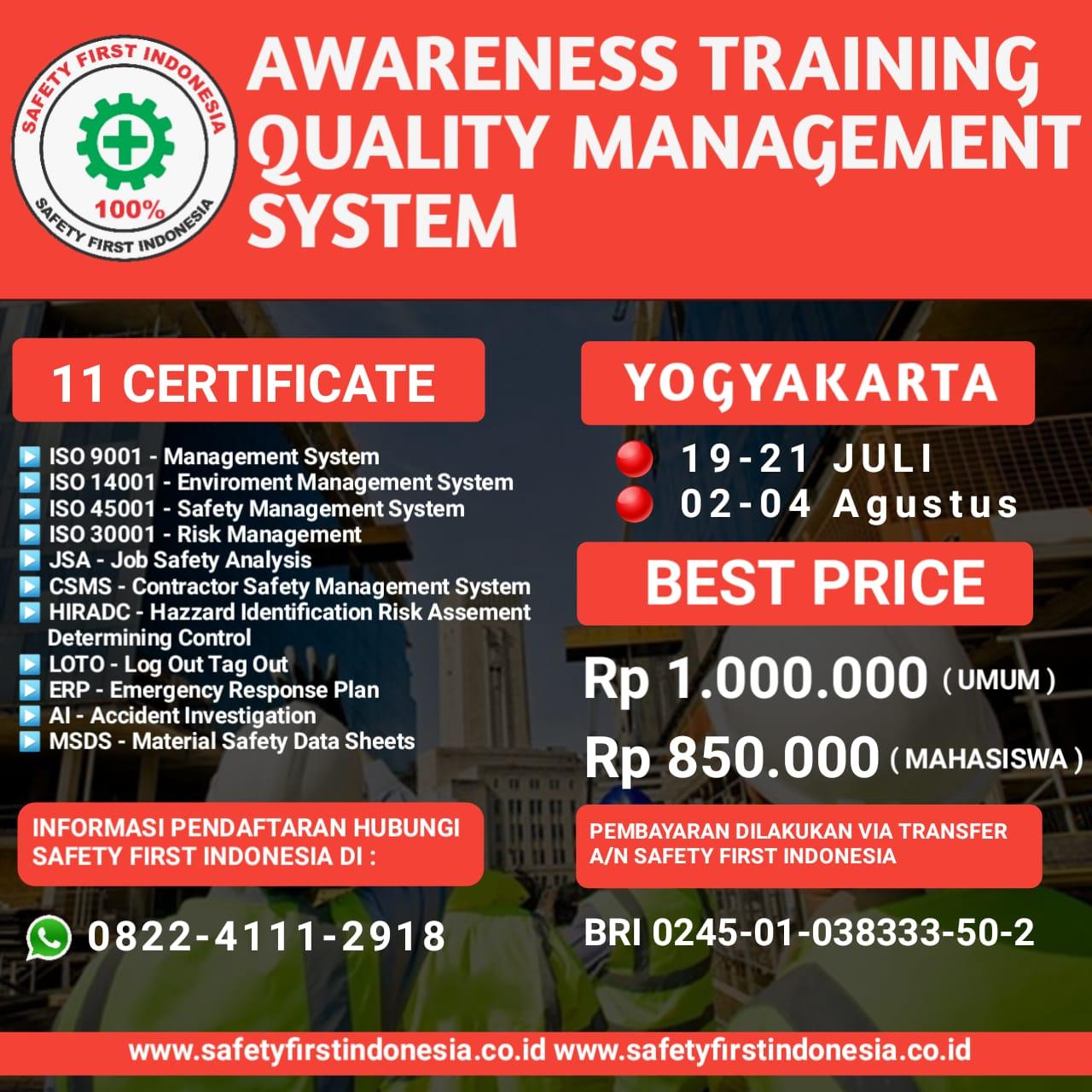 AWARENESS TRAINING QUALITY MANAGEMENT SYSTEM
