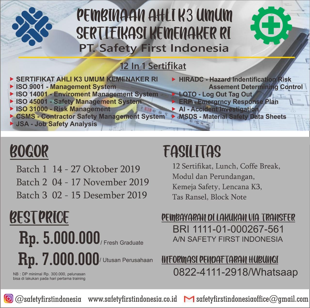 Pembinaan ahli k3 umum wilayah Bogor