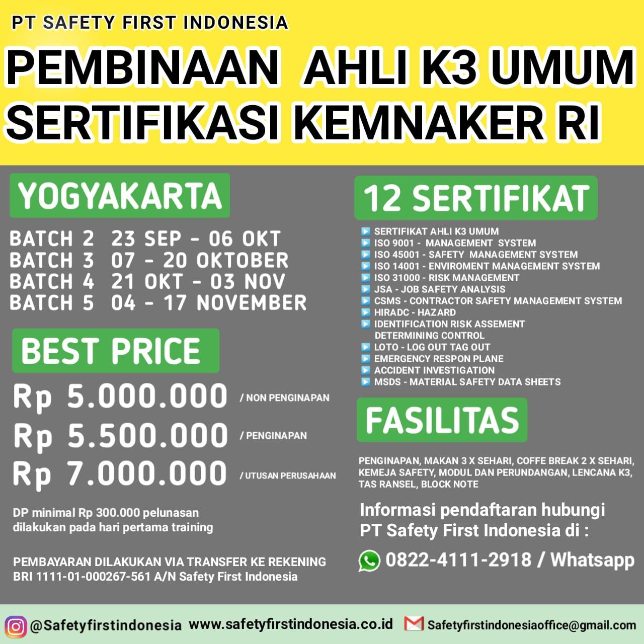 Pembinaan Ahli k3 Umum Yogyakarta