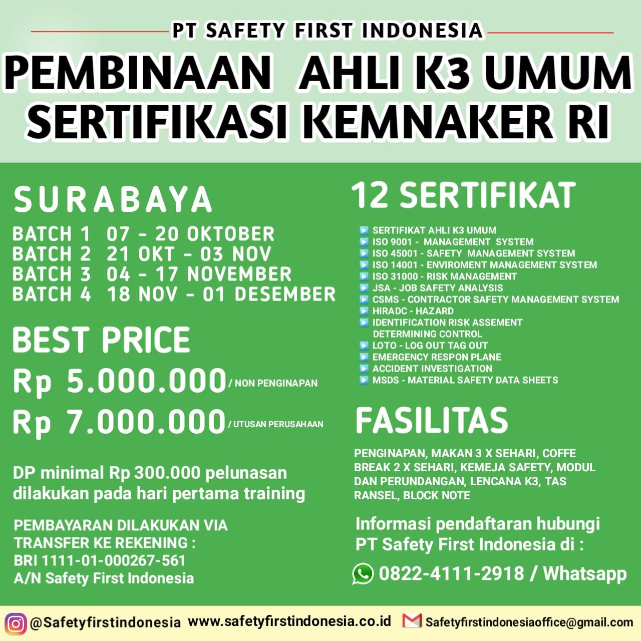 Pembinaan Ahli k3 Umum Surabaya